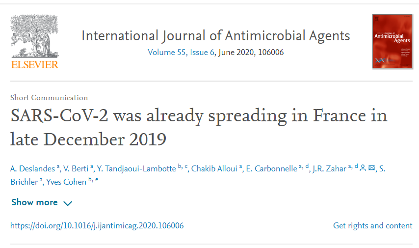 国际权威杂志发表研究报告称新冠病毒去年12月已在法国传播